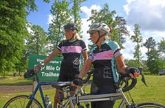Longtime cyclists and retired couple Clark Walter and Connie Friend wrap up a 70-mile ride at Four Mile Creek Park. - SCOTT ELMQUIST
