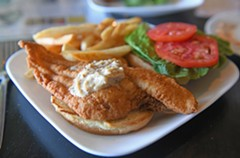The fried catfish sandwich is one of the most popular items on the menu at Cul's Courthouse Grille, especially among hungry cyclists. - SCOTT ELMQUIST
