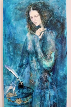 """""""Olimpe de Couges"""" mixed media on canvas 60 x 40 inches, by Konstantina Konstantinova (Kon Kons) - Uploaded by Artspace Richmond"""