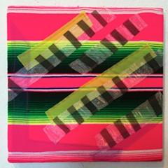 "RACHEL HAYES - Melody Maker 14"" X 14"" (serape, silk, acrylic paint)"