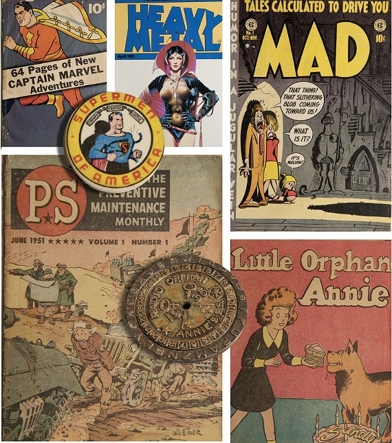 "Various items from VCU's collection, including ""Mad Magazine"" No.1 and a Little Orphan Annie decoder pin."