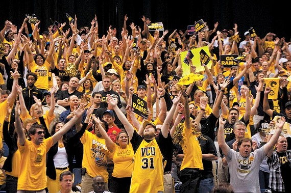 VCU fans in San Antonio cheer on the resilient Rams during Friday's Sweet 16 game against Florida State, eking out a 1-point victory in overtime. - SCOTT ELMQUIST