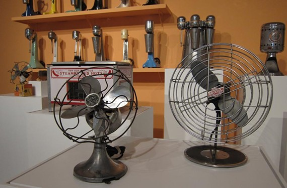 Vintage electric fans are only some of the cool old plugged-in gadgets found in a new Anderson Gallery display devoted to summertime in the mid-20th century.