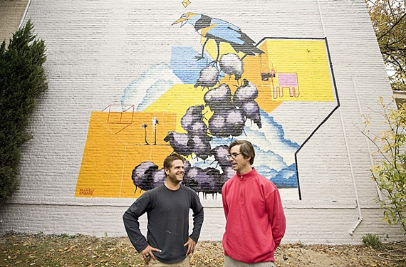 Wendy and Todd Martin posted a sign at the RVA Street Art Festival asking if anyone wanted to paint a mural on the wall of their Grove Avenue house. They ended up with the first-ever André Shank and Matt Lively  (pictured) collaboration.