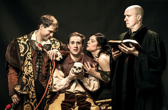 "What happens when you mix hookahs, monkey skulls, theology and coffee? Jeffrey Cole plays Dr. Faustus, Dixon Cashwell plays Hamlet, Stacie Rearden Hall is the Eternal Feminine and Andrew Hamm plays Martin Luther in Henley Street Theatre and Richmond Shakespeare's ""Wittenberg."""