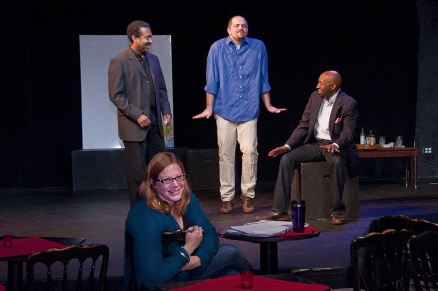 """""""What is modern art?"""" Sycamore Rouge's producing artistic director, K.B. Saine, in the foreground, directs J. Ron Fleming, David White and D.L. Hopkins in a scene from """"Art."""" - ERIC DOBBS"""