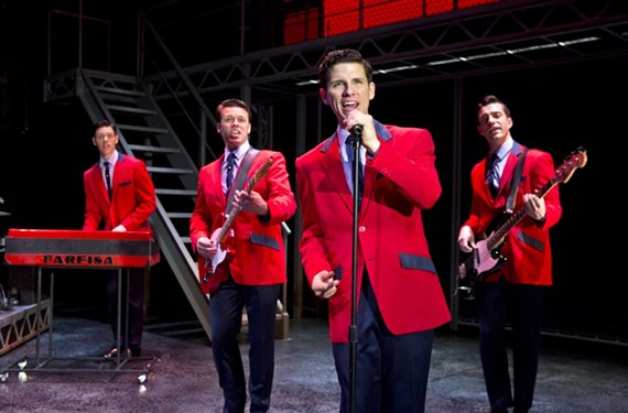 "Who loves you pretty baby? Jason Kappus, Nicolas Dromard, Nick Cosgrove and Brandon Andrus play the Four Seasons in the touring production of ""Jersey Boys,"" which opened on Broadway in 2005."