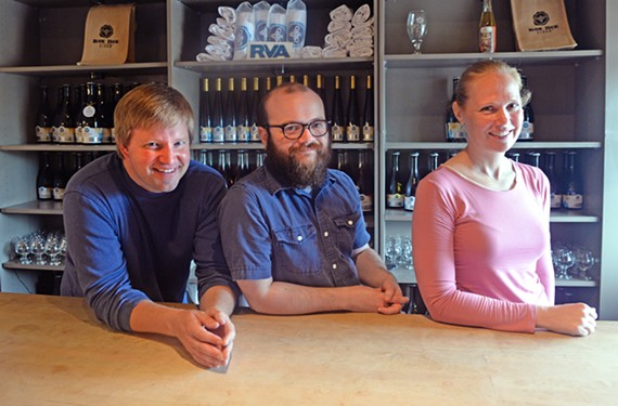 With a move to Scott's Addition, Blue Bee Cidery will have a chance to expand, says owner Courtney Mailey, right, with cider evangelist Brian Ahnmark and cider-maker Manuel Garcia.