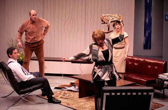 Yasmina Reza's acclaimed play is both funny and harrowing. Barksdale's production stars, from left, Dan Stearns, Jay O. Millman, Jan Guarino and Susan Sanford.