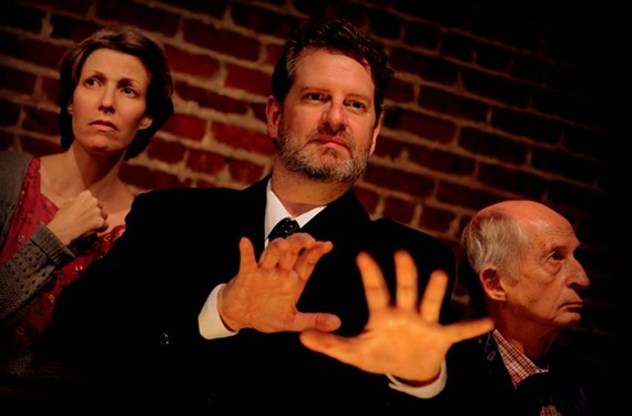 "You can only catch it for a couple more nights: Actors Katie McCall, Joe Pabst, at center, and Ron Reid star in Henley Street Theatre's nuanced ""Faith Healer."" - VINNIE GONZALEZ"