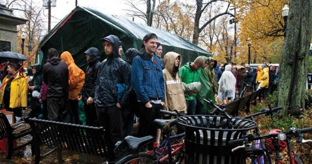 A scene from Occupy Nova Scotia's fall sit-in, just before the police came. - KRISTA LEGER