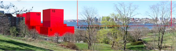 A simulated view of the waterfront from the Dartmouth Common, with envisioned 15-storey buildings on city-owned land to the left, and a line showing a four-storey height limit on CN property, to the right.