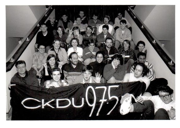"A wayback Team CKDU in the Dal SUB, part of the ""thousands of vibrant souls"" involved over the years."