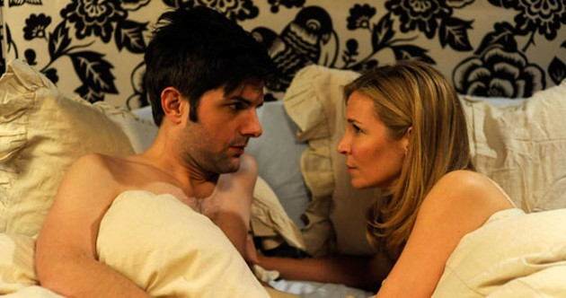Adam Scott treats himself to director-writer-star Jennifer Westfeldt in Friends with Kids.