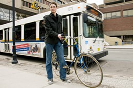 PHOTO: AARON FRASER MACKENZIE - Alternate route William Lachance used his bike to figure out bus schedules.