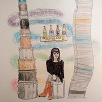 An original @hfxartgossip rendering of artist Eleanor King
