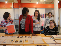 Ann Divine gives feedback to NSCAD Illustration and Design Students.