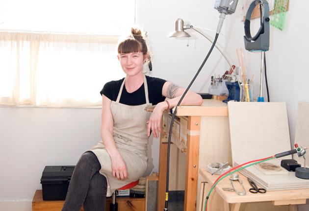 Arsenault in her studio