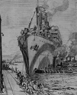 """Arthur Lismer, """"The Transport Aquitania"""""""