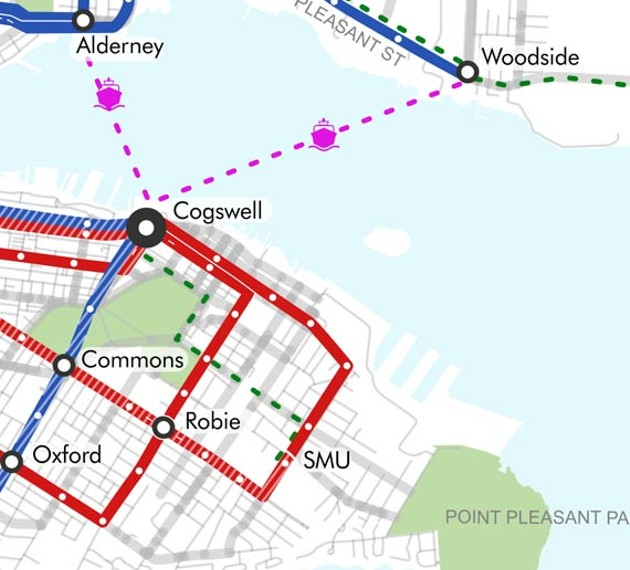 As opposed to the colour-crazy map Halifax Transit stands behind, this snippet from It's More Than Buses' proposal shows what an elegantly composed bus system could look like. High-frequency routes leading to - and from major transfer points keeps it simple. - COURTESY IT'S MORE THAN BUSES