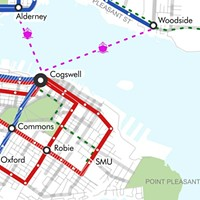 As opposed to the colour-crazy map Halifax Transit stands behind, this snippet from It's More Than Buses' proposal shows what an elegantly composed bus system could look like. High-frequency routes leading to  and from major transfer points keeps it simple.