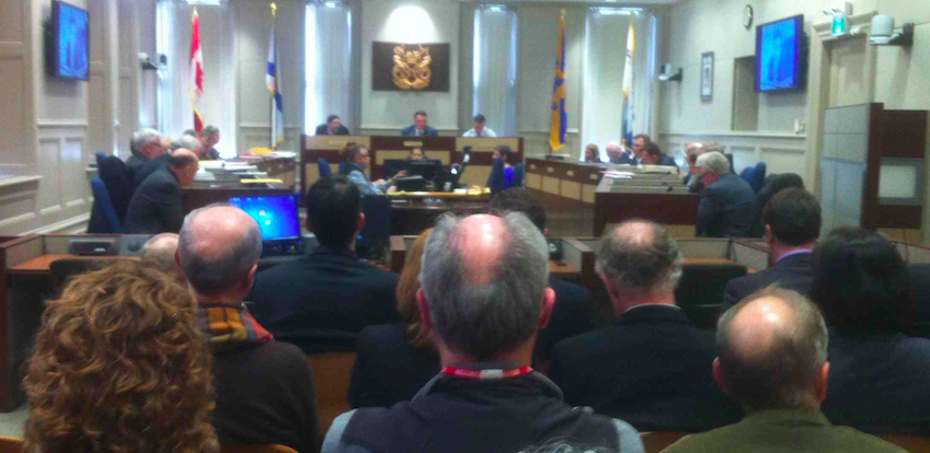 Assembled onlookers watch HRM council yesterday inside City Hall.