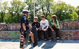 PHOTOS BY LIAM COOK - At least seven police officers---skaters say it was as many as 11, including undercover cops---participated in a helmet crackdown ne day last summer.