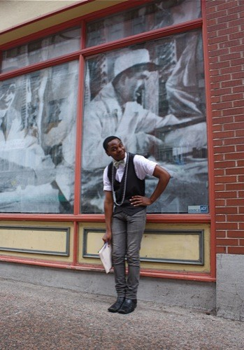"Axel, who moved to Halifax from Brooklyn last year, takes style notes from Fonzworth Bentley. ""He wears bright blazers, dress shoes and a bowtie all the time. I really liked that so I decided to do the same, but instead I added bowties of different sizes and designs along with jewellery to sparkle it up a bit."""