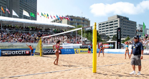 Beach volleyball on the waterfront. - CHRIS TOMS