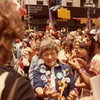 Betty Peterson, attending the June 12 1982 Peace March in New York City.