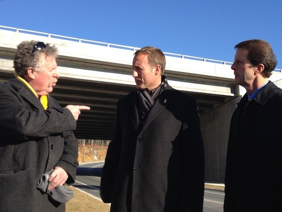 Bill Estabrooks, Peter MacKay and Peter Kelly (left to right) celebrate the opening of the over-budget Washmill underpass.