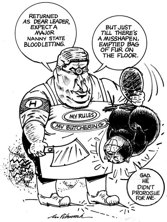 Cartoon depicting prime minister Harper as a Nazi-life cyclops creature attacking a beaver