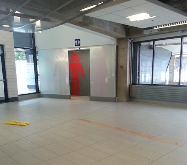 Caution: wet floor, dry terminal.