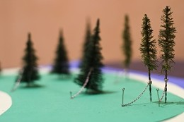 Chain-solved: Noah Logan's model proposal for protecting trees in Point Pleasant Park. photo Julé Malet-Veale