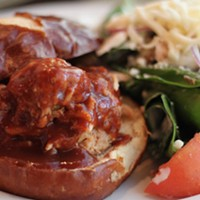 Chef's Menu's spinach salad outshines the pulled pork sammie.