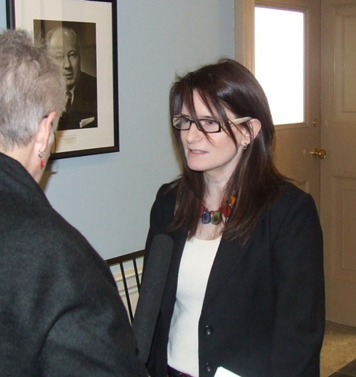 Christine Saulnier discusses Alternative Budget at Province House today