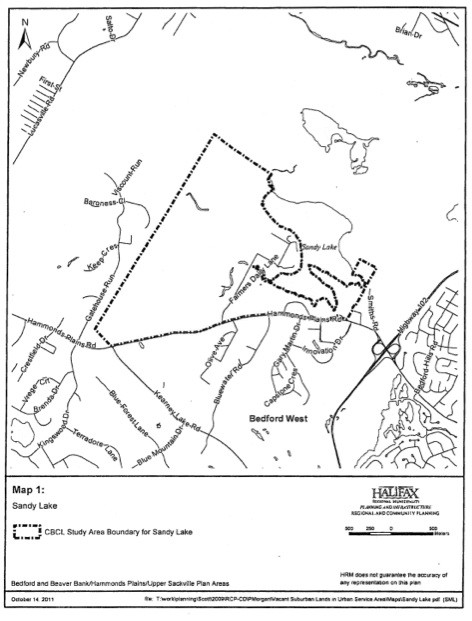 City map showing Bedford West and Sandy Lake development areas.