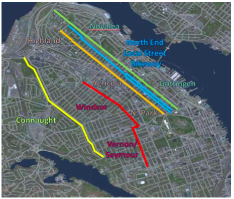 City staff looked at these options for the cross-town connector.