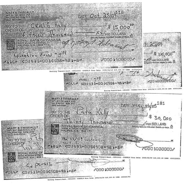 Copies of cheques drawn on Mary Thibeault's account to Peter Kelly and his son.