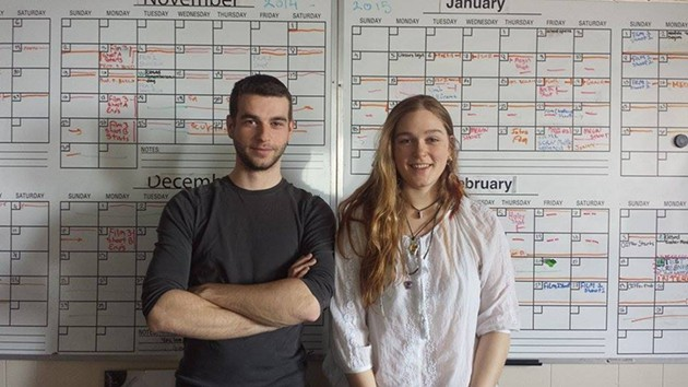 Daniel Crowther and Megin Peake, in front of the very daunting schedule of their past year