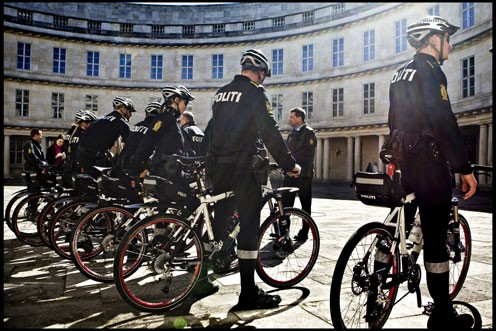 Danish Police in question may or may not be on green bicycles like in this photo.