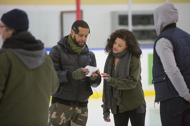Director X discusses the next scene with Sarah Jeffery playing the role of Jayme on the set of the feature Undone, filmed on location in Nova Scotia. - DAN CALLIS