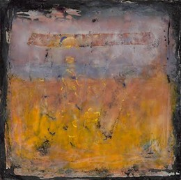 """""""earthscape # 5: stamp and letter"""", encaustic,  24""""h x 30""""w"""