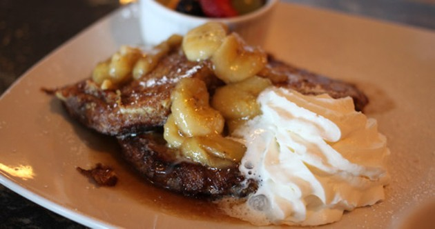 Firm and fantastic banana bread French toast, sans walnuts.