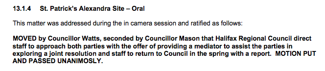 From December 9 council minutes.
