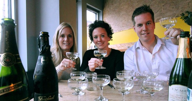 From left to right, Erin Horton, Heather Rankin and Jordan Dickie rasise a glass to (and of) sparkling wine. - MELISSA BUOTE