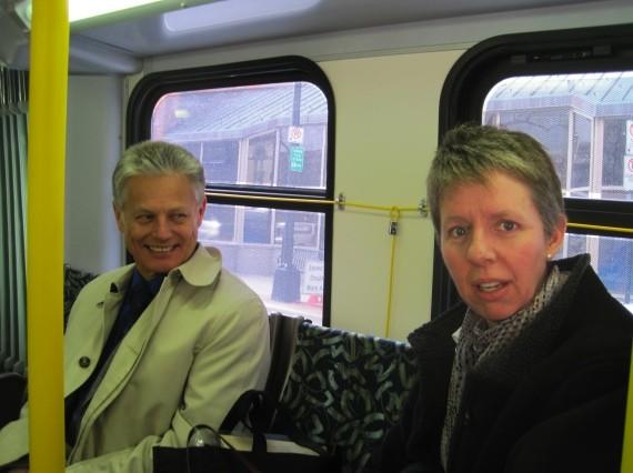 God of traffic Ken Reashor and councillor Jennifer Watts.