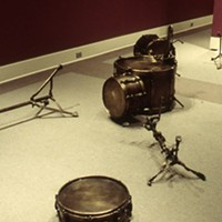 """Greg Forrest's """"Drum Kit"""" is a detailed reproduction of Keith Moon's drums after a concert."""