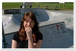 Half-pipe dream Jacquie Thillaye of the Halifax Skate Park Coalition hits the decks.photo Julé Malet-Veale