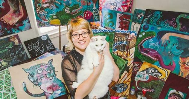 Halloway Jones, her cat and a whole whack of art. - SCOTT BLACKBURN